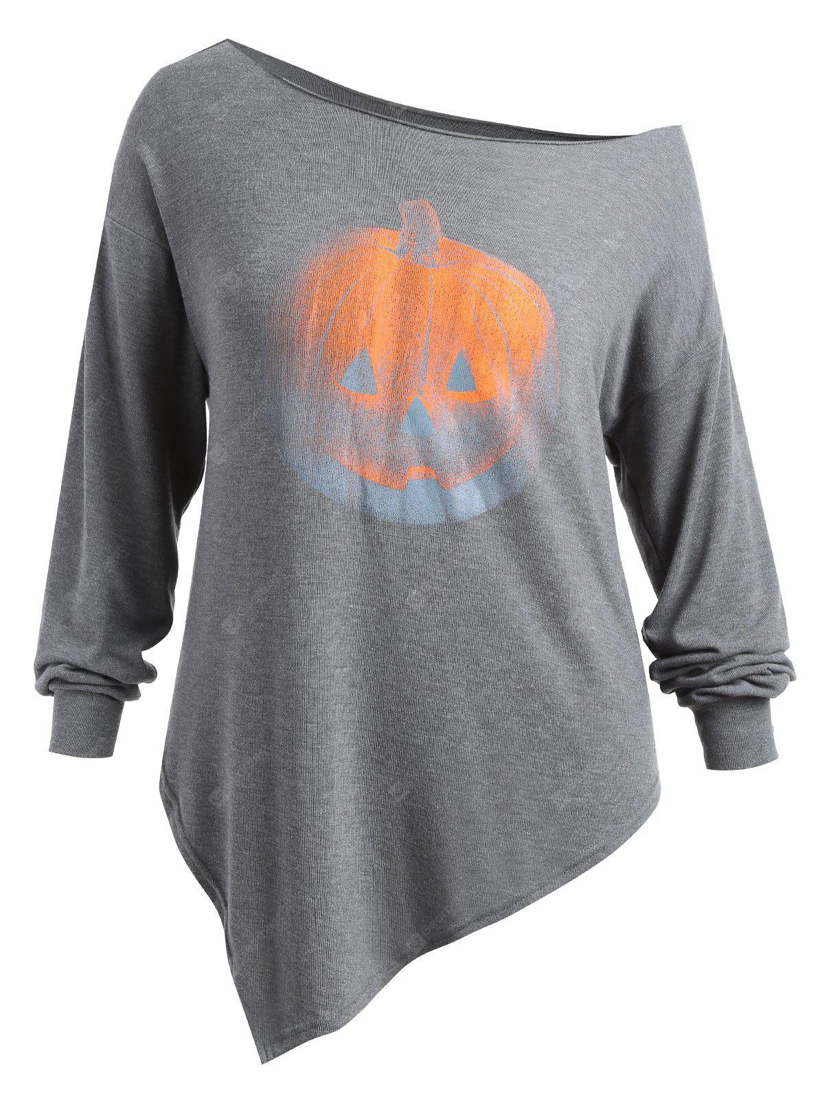Plus Size Skew Collo Ombre Top Zucca di Halloween