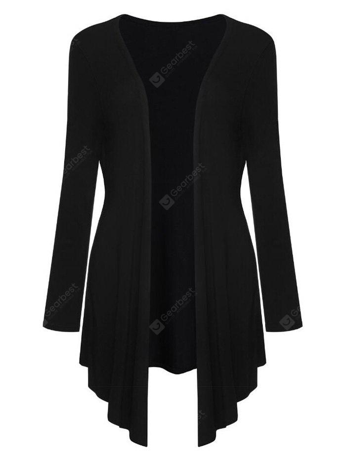 Collarless Asymmetric Draped Cardigan