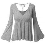 Plus Size Surplice Bell Sleeve Lace Panel Tee - GRAY