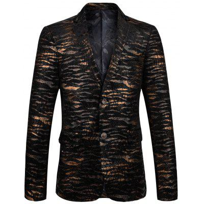 Metallic Print Notch Lapel Velvet Blazer