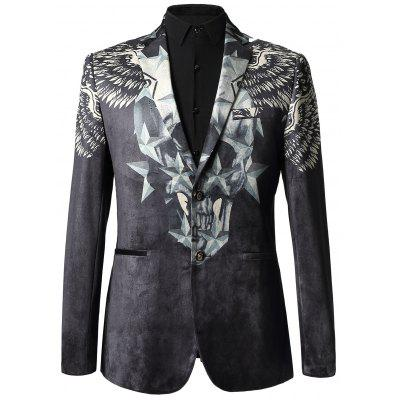 Star Print Two-button Velvet Blazer