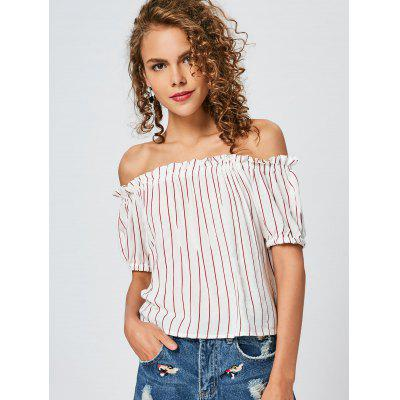 Off Shoulder Striped Ruffles Top