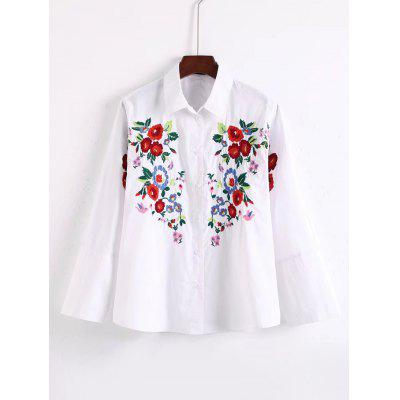 Floral Embroidery Raglan Sleeve Shirt