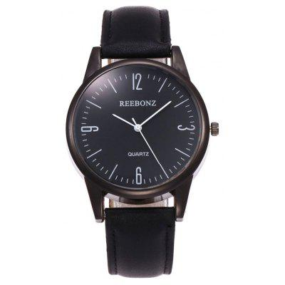 Buy BLACK Faux Leather Strap Round Face Quartz Watch for $7.49 in GearBest store