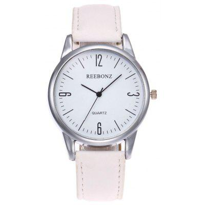 Buy WHITE Faux Leather Strap Round Face Quartz Watch for $7.49 in GearBest store