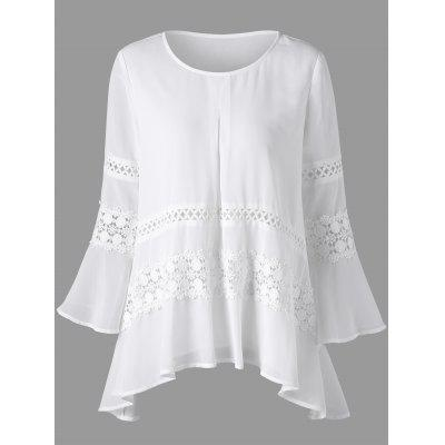 Buy WHITE XL Lace Insert Bell Sleeve Sheer Blouse for $23.02 in GearBest store