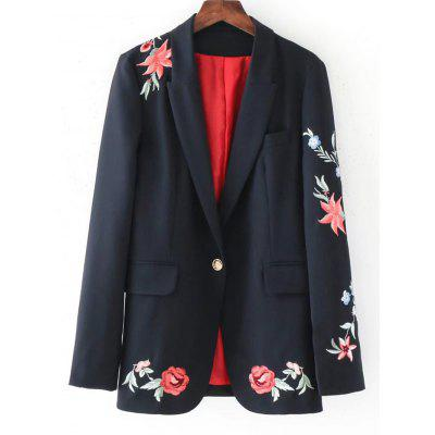 Rose Embroidered Buttoned Blazer