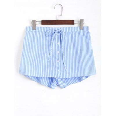 Buy STRIPE L High Waisted Botton Up Striped Skorts for $18.60 in GearBest store
