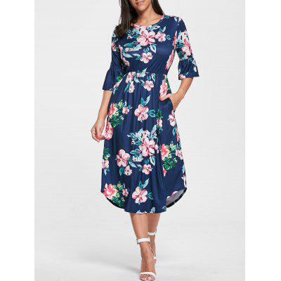 Buy PURPLISH BLUE S Floral Print Bell Sleeve Pocket Dress for $21.76 in GearBest store