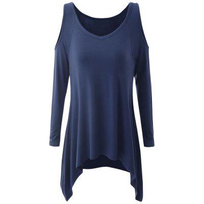 Buy PURPLISH BLUE XL Plus Size Cold Shoulder Asymmetrical T-shirt for $23.66 in GearBest store