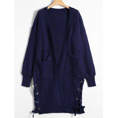 Chunky Knit Lace-Up Long Cardigan