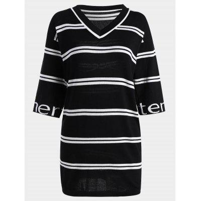 Letter Striped Knitted Dress
