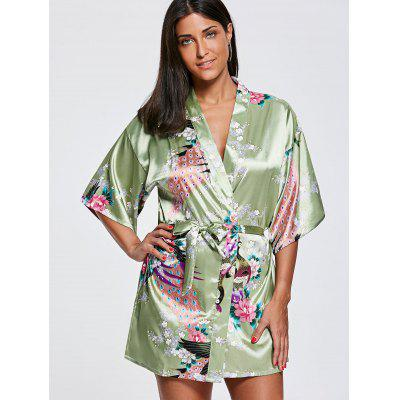 Peacock Floral Satin Kimono PajamaPajamas<br>Peacock Floral Satin Kimono Pajama<br><br>Material: Polyester<br>Package Contents: 1 x Kimono  1 x Belt<br>Pattern Type: Floral<br>Weight: 0.1800kg