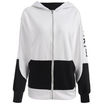 Plus Size Batwing Sleeve Letter Print Hooded Jacket