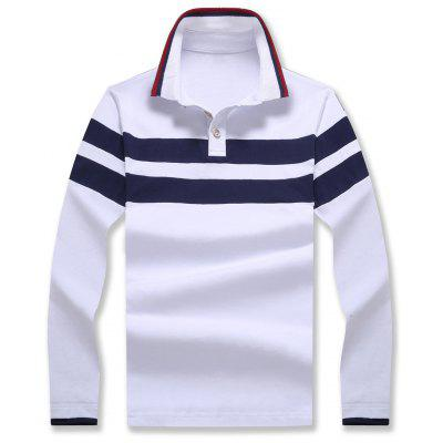 Polo Collar Striped Long Sleeve T-shirt