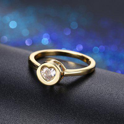Rhinestone Heart Circle Finger Ring