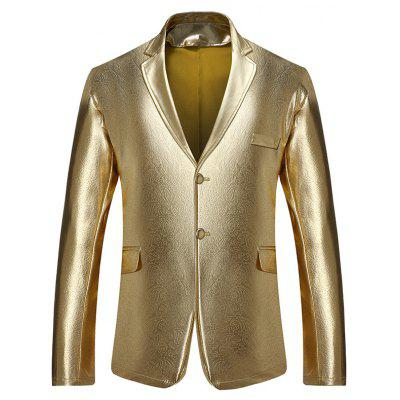 Buy GOLDEN L Lapel Collar Single Breasted Metallic Blazer for $39.02 in GearBest store
