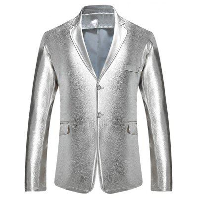 Buy SILVER Lapel Collar Single Breasted Metallic Blazer for $39.02 in GearBest store