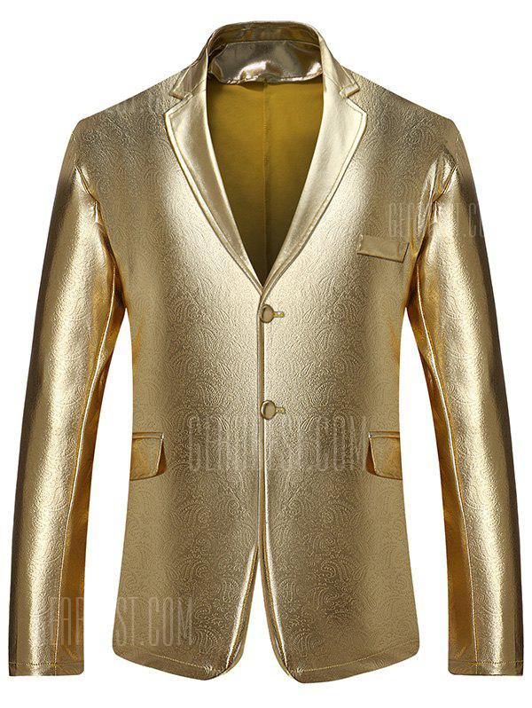 GOLDEN L Lapel Collar Single Breasted Metallic Blazer