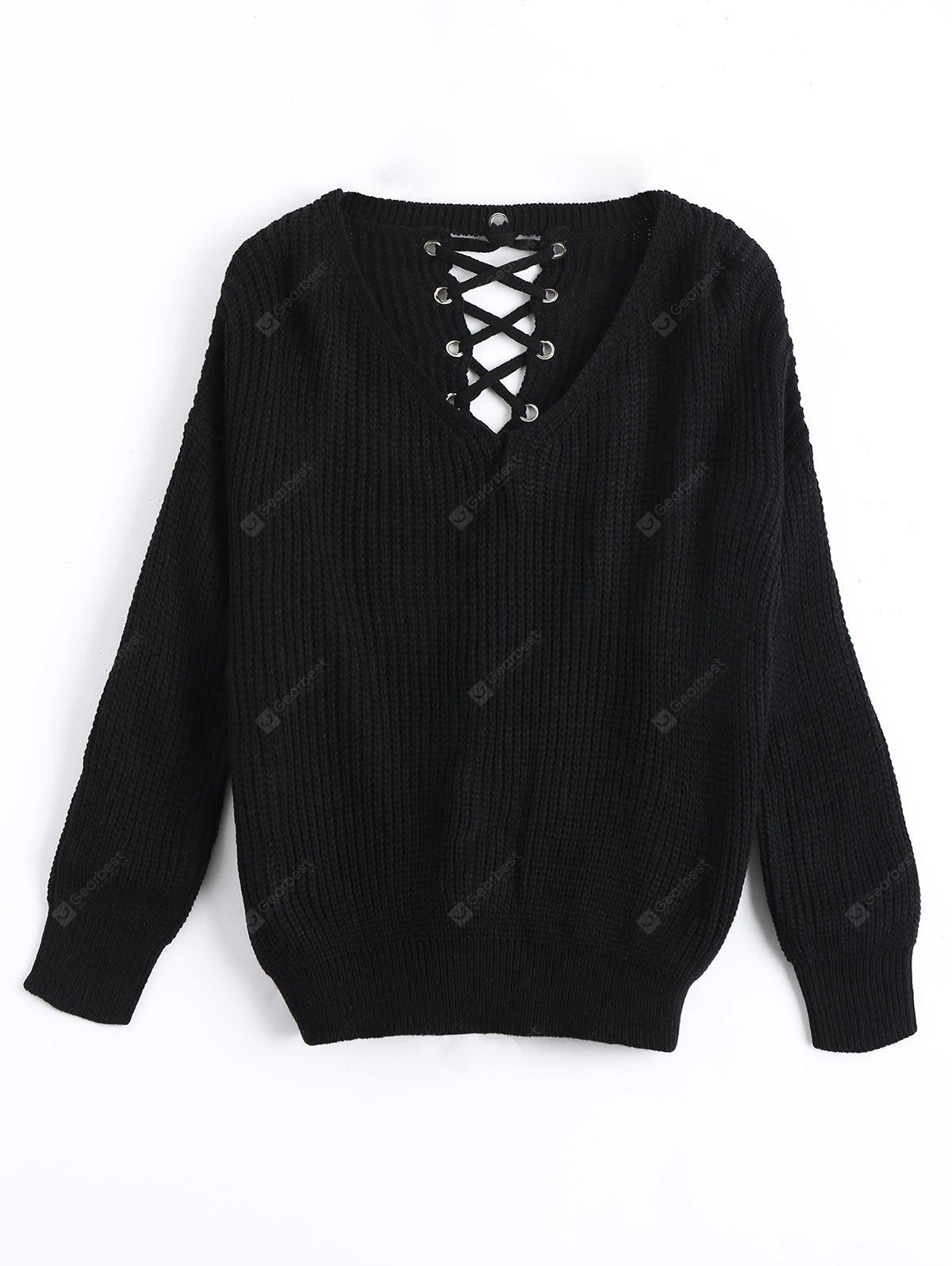 Chunky Lace Up Sweater