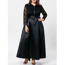 Plus Size Lace Trim Swing Maxi Dress