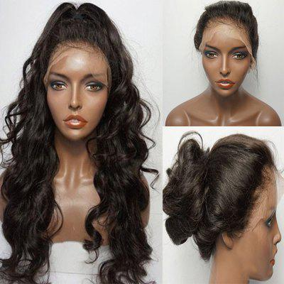Buy NATURAL BLACK Long Fluffy Free Part Wavy Lace Front Human Hair Wig for $180.38 in GearBest store