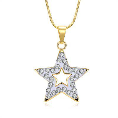 Buy GOLDEN Rhinestone Insert Hollow Star Charm Necklace for $5.50 in GearBest store