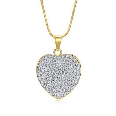 Buy GOLDEN Full Rhinestone Insert Heart Charm Necklace for $5.97 in GearBest store