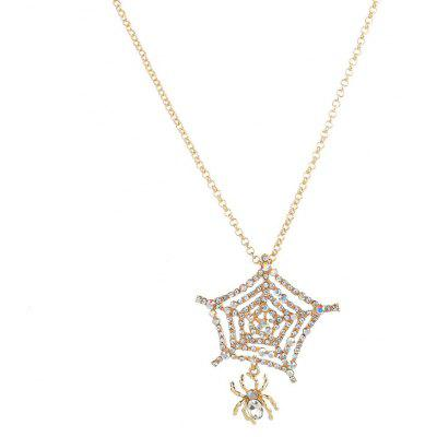 Buy GOLDEN Rhinestone Halloween Spider Web Charm Necklace for $5.50 in GearBest store