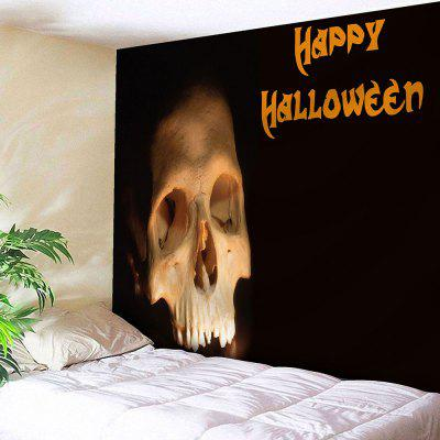 Buy BLACK Happy Halloween Skull Wall Tapestry for $15.57 in GearBest store