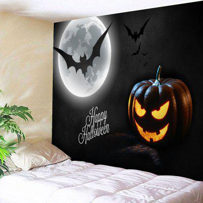 Buy BLACK Halloween Pumpkin Lantern Bat Wall Tapestry for $11.19 in GearBest store