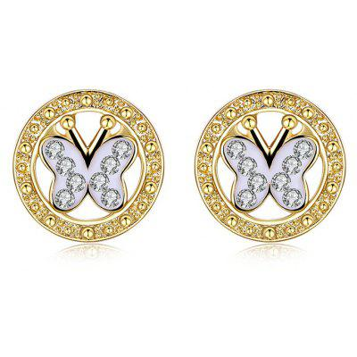 Rhinestone Round Butterfly Stud Earrings