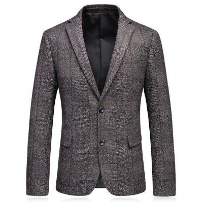 Revers Elbow Patch Check Tweed Blazer