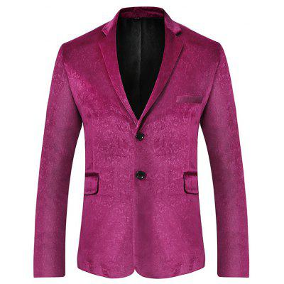 Lapel Collar Single Blasted Velveteen Blazer