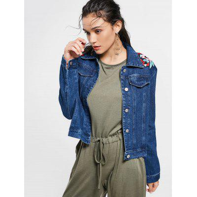 Buy DEEP BLUE M Faux Pockets Embellished Floral Patched Denim Jacket for $38.27 in GearBest store
