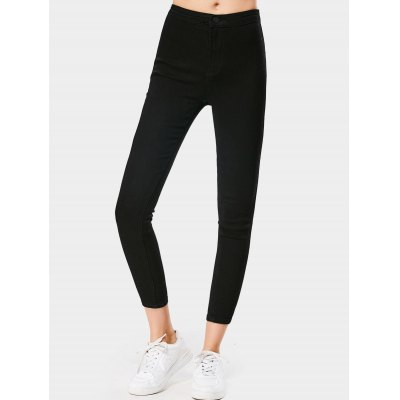 Buy BLACK L Ninth High Waisted Skinny Stretchy Jeans for $30.64 in GearBest store