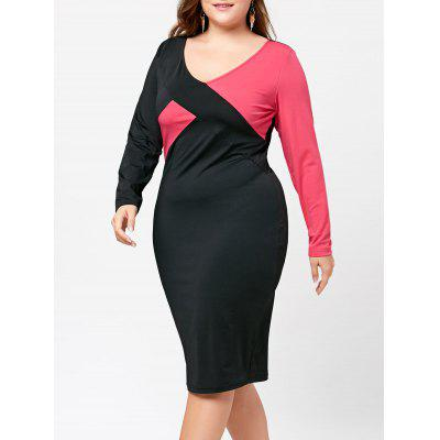 Buy BLACK + ROSE 2XL Color Block Plus Size V-neck Sheath Dress for $17.03 in GearBest store