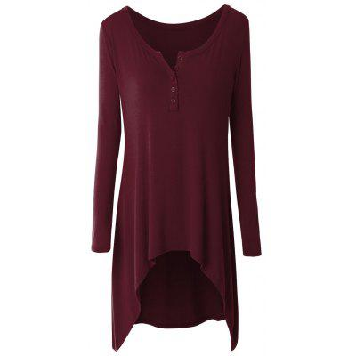 Plus Size High Low Button Embellished Tee