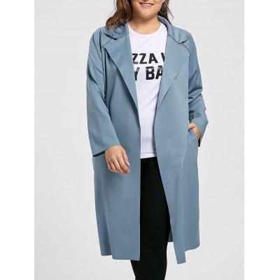 Plus Size Lapel Longline Coat
