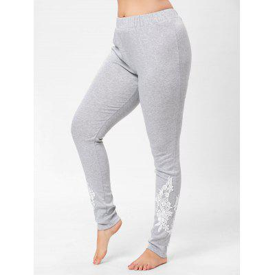 Plus Size Floral Lace Panel Pants