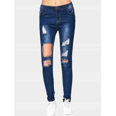 Buy DEEP BLUE L Cut Out Destroyed Jeans for $22.28 in GearBest store