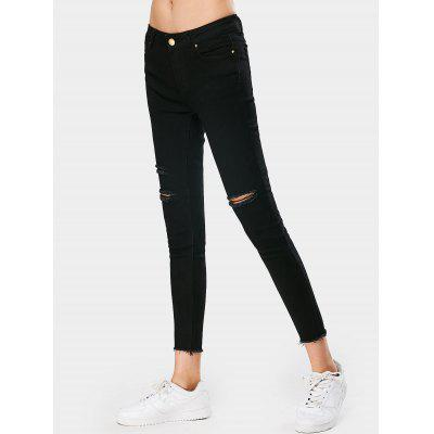 Buy BLACK S Destroyed Stretchy Skinny Pencil Jeans for $33.11 in GearBest store