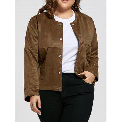 Vintage Plus Size Sueded Jacket with Pocket
