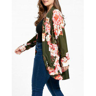 Floral Plus Size Open Front Coat