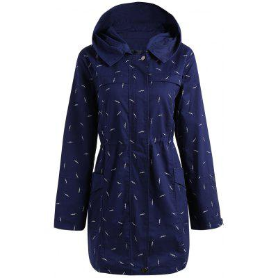 Plus Size Hooded Pocket Printed Jacket