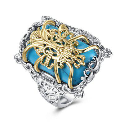 Faux Gem Engraved Insect Geometric Ring