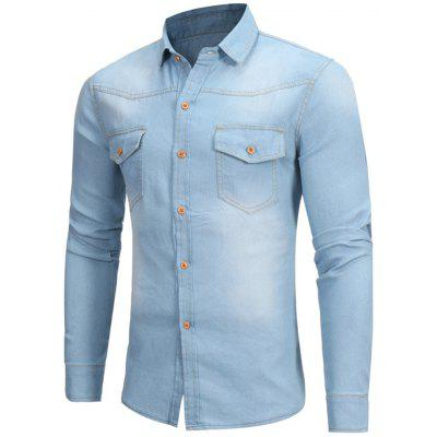 Light Wash Double Pocket Denim Shirt