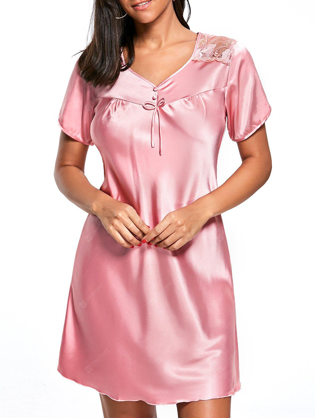 Satin Shift Pajama Dress
