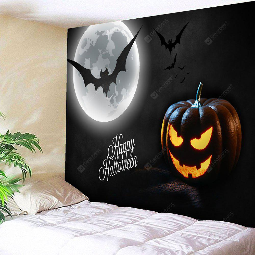 Halloween Pumpkin Lantern Bat Wall Tapestry
