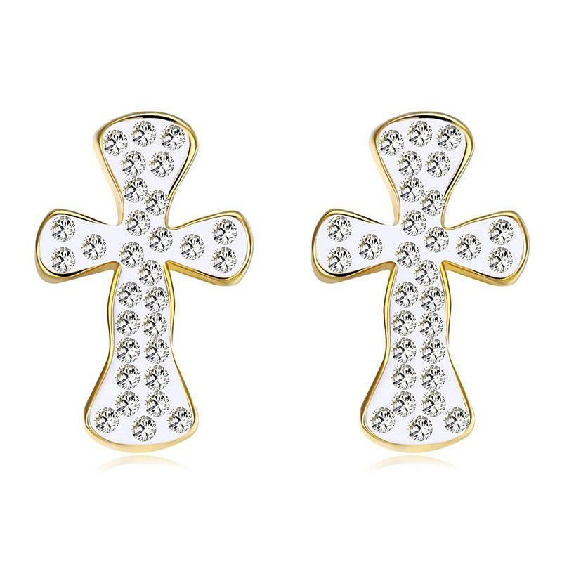 Sparkly Rhinestone Cross Stud Earrings